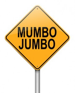 Illustration depicting a roadsign with a mumbo jumbo concept. White background.
